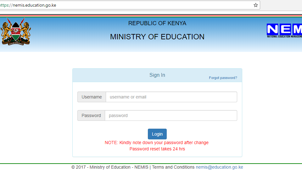 NEMIS - The National Education Management Information System Portal Screenshot.