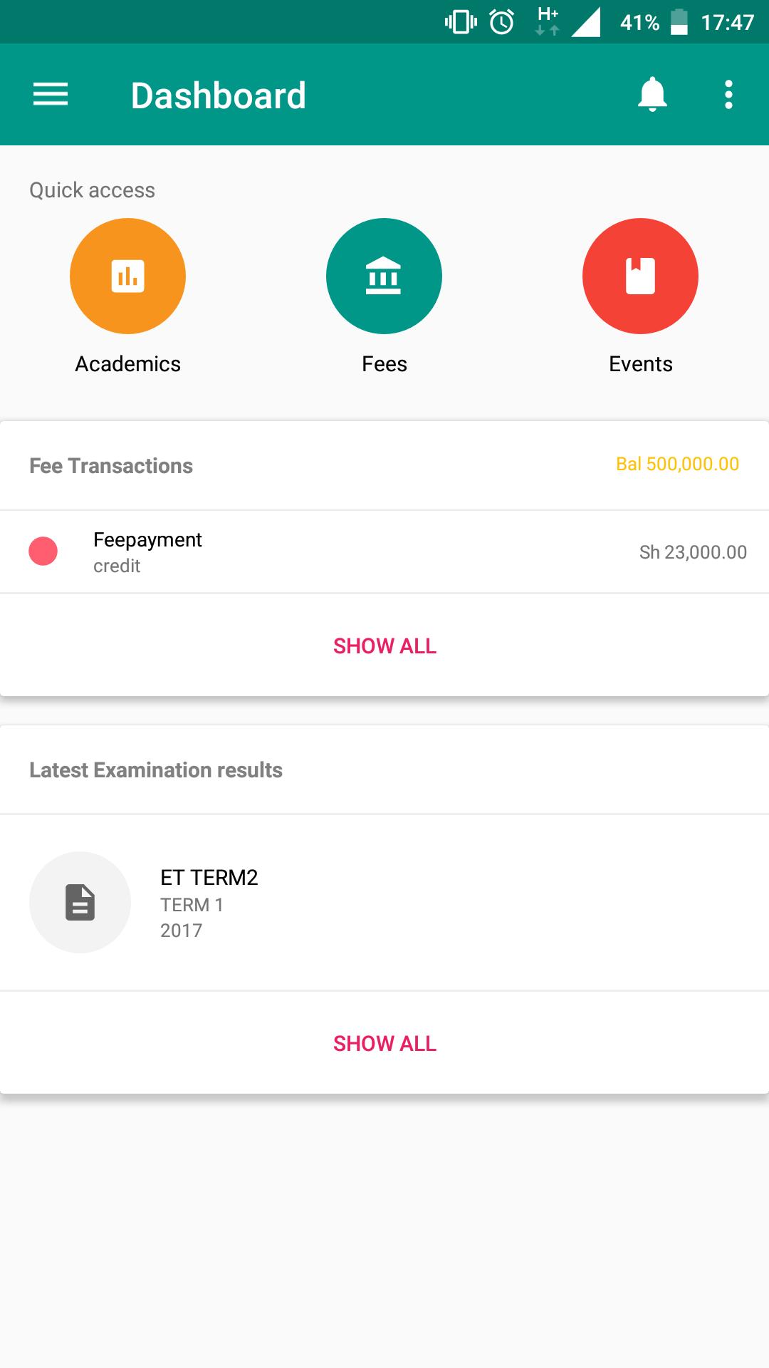 Bunifu Schools Mobile App - Dashboard