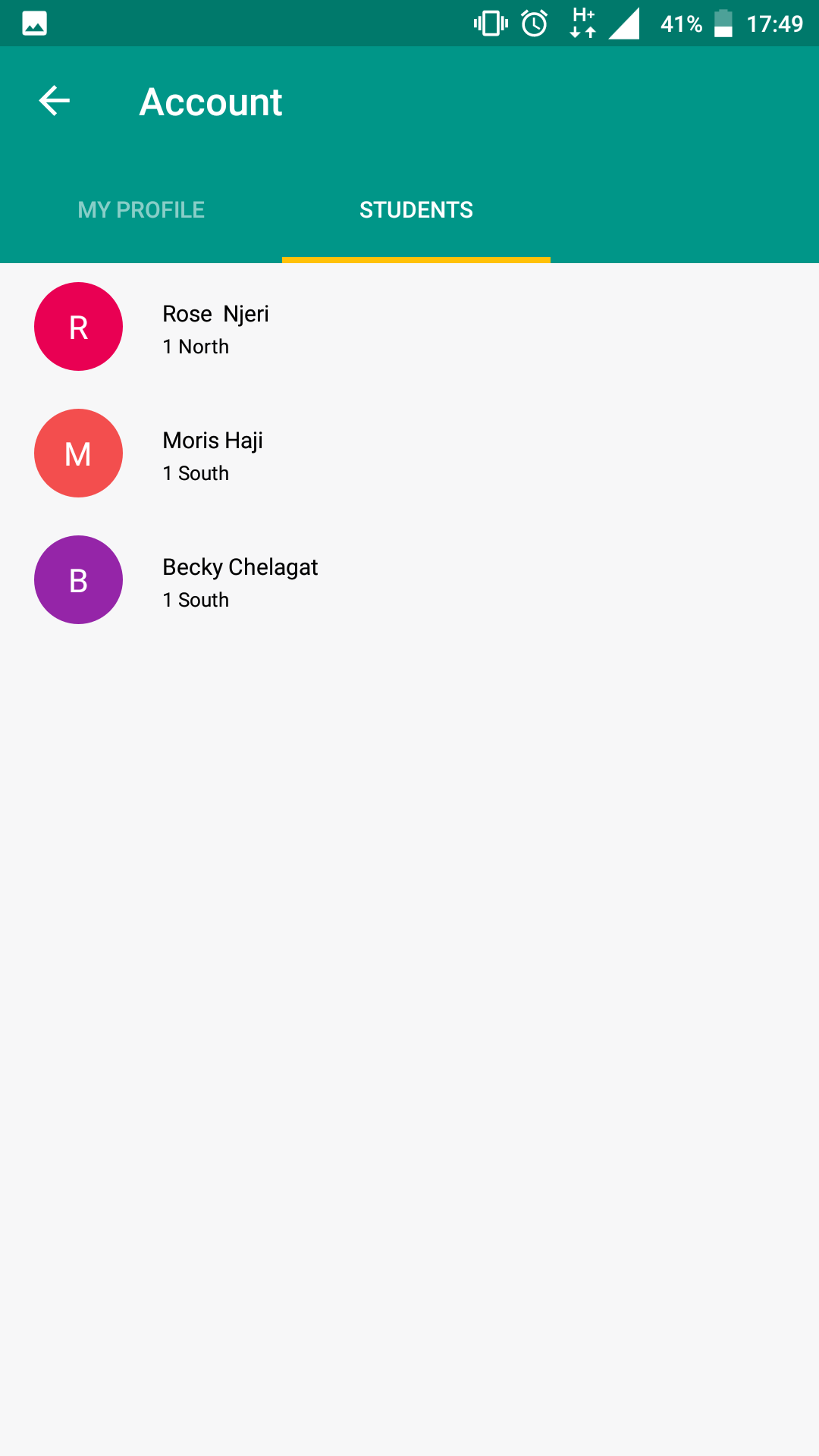 Bunifu Schools Mobile App - Account